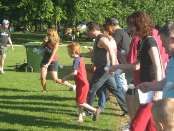 Shari is 2nd from the right during the egg race at our annual picnic
