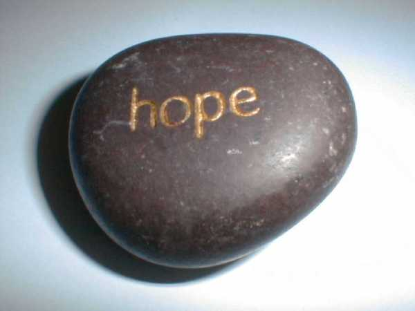 "stone with ""hope"" engraved on it"