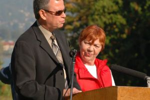 Fred Ford and Carol Dauphinais speaking at the demolition of the last tower of Woodland's School - B.C.'s last institution