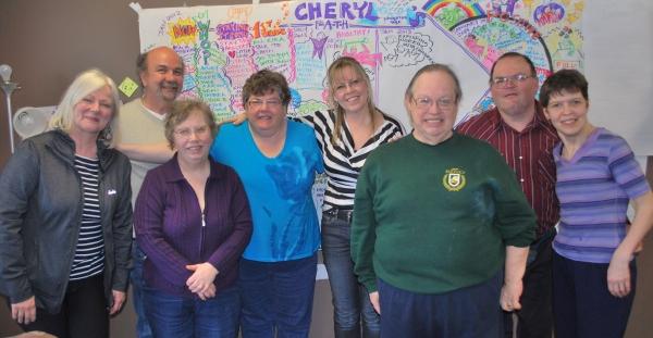 Left to Right: Debby, Aaron, Lori, Cheryl Fryfield, Cheryl Bishop, David, Jerry, Lara (photo by Shelley Nessman