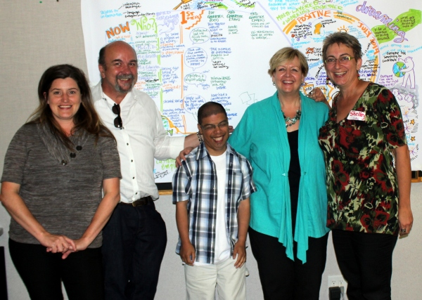 From Left to Right: Val Beaman (Ministry of Social Development and Social Innovation), Aaron, Shelley Nessman, Shelley Gerber (Community Living B.C.) - a project PATH